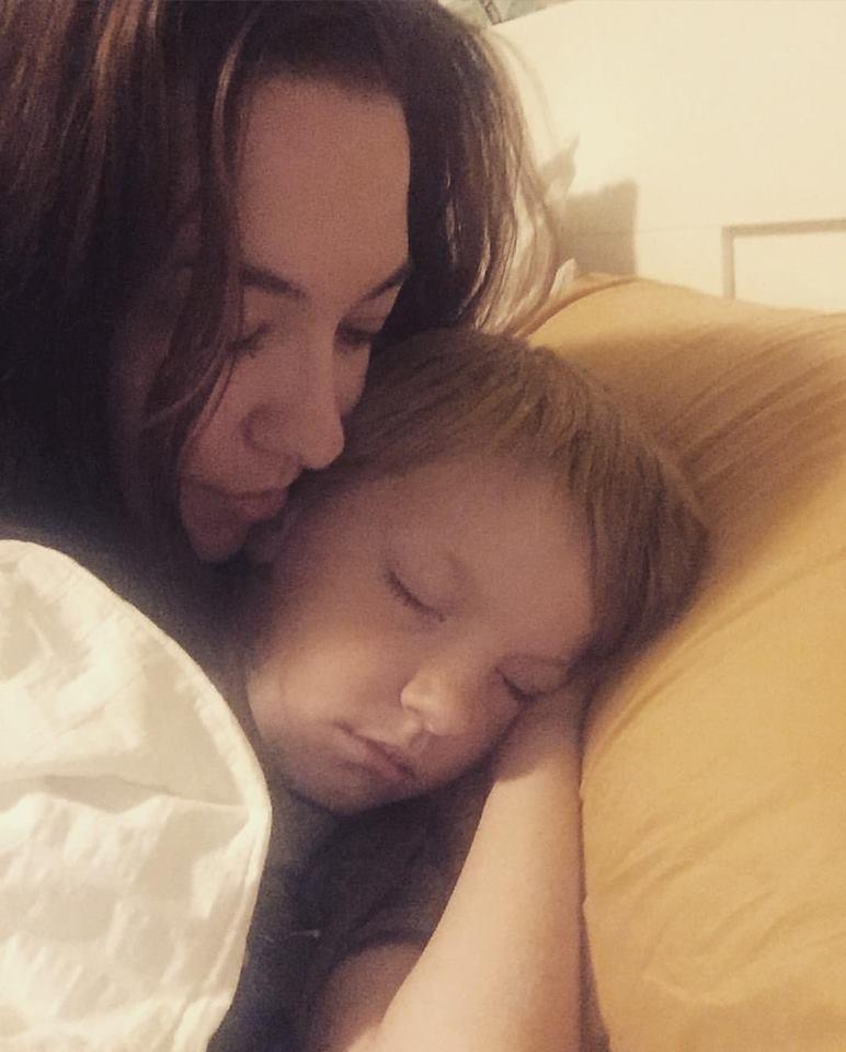 Sleeping boy and mom